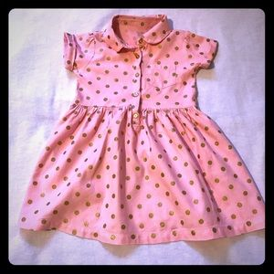 Other - Pretty pink dress with gold polka dots.